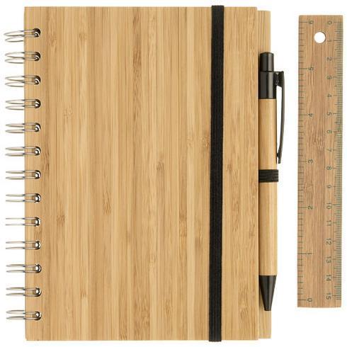 Franklin anteckningsbok B6 i bambu med penna och linjal