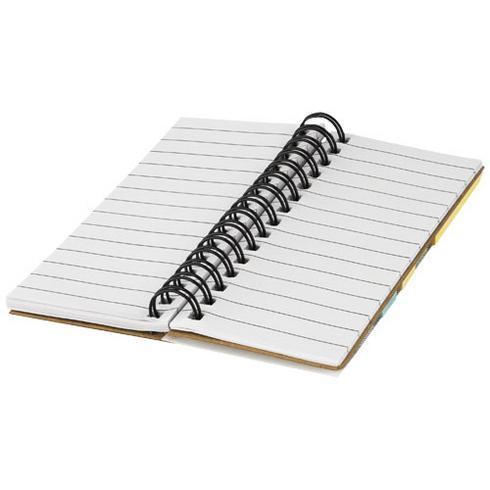 Spinner spiralbunden anteckningsbok med färgade självhäftande notiser